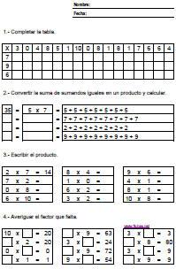 Ejercicios de tablas de multiplicar del 2 al 9 para imprimir